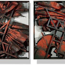 Alexey Klimov: 'GENERATIONS 4 AND 5', 2016 Mixed Media Sculpture, Abstract. Artist Description:  Most of my free- standing sculptures are aEURoetable sizeaEUR, though quite monumental by nature. These two were initially created as presentation pilots for a competition. They are not exactly diptych; I think of them as siblings. I also blended them into a museum environment blown to the size ...
