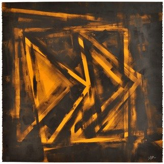 Alexey Klimov: 'GRIDDING IN YELLOW', 2014 Ink Painting, Abstract. Artist Description:   GRIDDINGS is a collection of three same size paintings on paper. They are totally abstract and bound together by being images of some dreamlike  similar shapes vaguely reminiscent of a grid.Could be displayed on the wall closely spaced to one another ( see opening  image)  ...