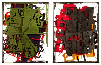 Alexey Klimov: 'LETTERBOX DIPTYCH', 2013 Mixed Media Sculpture, Abstract. Artist Description:   To me playing with digits and letters is a game that never ends. Singling them out, or crowding together, separating, blending together with or without obvious meaningaEUR