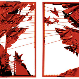 Alexey Klimov: 'MUTUAL FEEDBACK', 1996 Mixed Media Sculpture, Abstract. Artist Description:   This is a sizable wall- hung diptych. Could be displayed close to one another at 1- 2 ft. It was inspired, like many of my pieces, by endless shapes and symbols of a large city urban landscape. Some of them are so ubiquitous aEUR