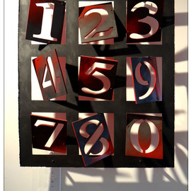 Alexey Klimov: 'PERPETUAL CALENDAR', 2013 Mixed Media Sculpture, Abstract. Artist Description:        This stand- alone wall sculpture represents the whole scope of the decimal system. Using the digit components one can compile any imaginable date of the remote past, as well as unimaginable future. This piece is spaced 3- 7in. off the wall and its back is painted bright red, ...