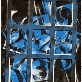 Alexey Klimov Artwork PERPETUAL CALENDAR IN BLUE, 2013 Ink Painting, Abstract
