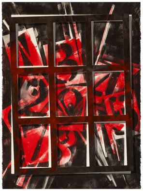 Alexey Klimov: 'PERPETUAL CALENDAR IN RED', 2013 Ink Painting, Abstract. Artist Description:  I have a life- long fascination with digits and figures: their visual shapes, their meanings and the infinite number of combinations their interplay generates. These two paintings is a diptych. The grid in front is part of the same background, except it is positioned at a slightly different ...