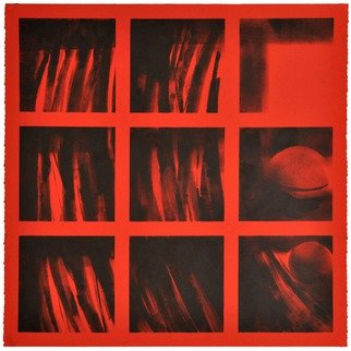 Alexey Klimov Artwork SHELVING IN RED, 2014 Ink Painting, Abstract