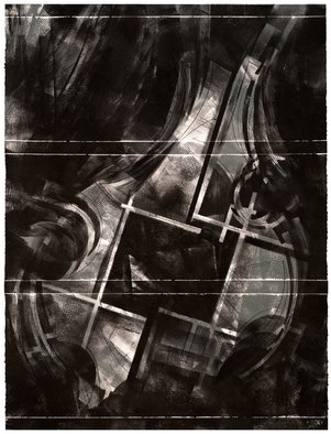 Alexey Klimov Artwork SPRING QUARTET in GRAY, 2014 Ink Painting, Abstract