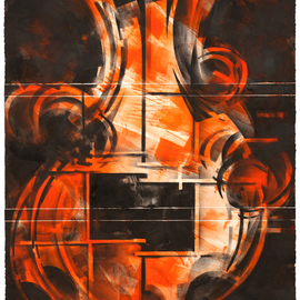 Alexey Klimov Artwork SPRING QUARTET in ORANGE, 2014 Ink Painting, Abstract