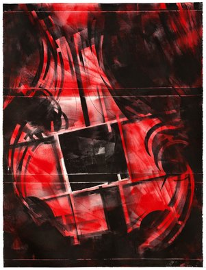 Alexey Klimov Artwork SPRING QUARTET in RED, 2014 Ink Painting, Abstract