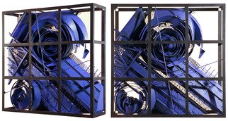 Alexey Klimov: 'past continuous in blue', 2009 Steel Sculpture, Abstract. Artist Description: This collection of 4 wall sculptures reflects my fascination with the timeless nature of most visually captivating architectural detail of the ancient past graduating into contemporary Post- Modern. This is where the name