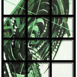 Alexey Klimov: 'timeless behind bars in green', 2009 Other Painting, Abstract. Artist Description:  This collection of 5 paintings is my playful reflection on the timeless nature of most visually captivating architectural detail of the ancient past graduating into contemporary Post- Modern. This is where the name