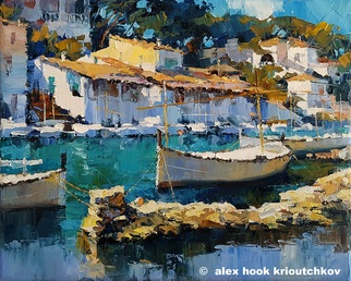 Alex Hook Krioutchkov Artwork Cala Figuera XXI, 2017 Oil Painting, Seascape