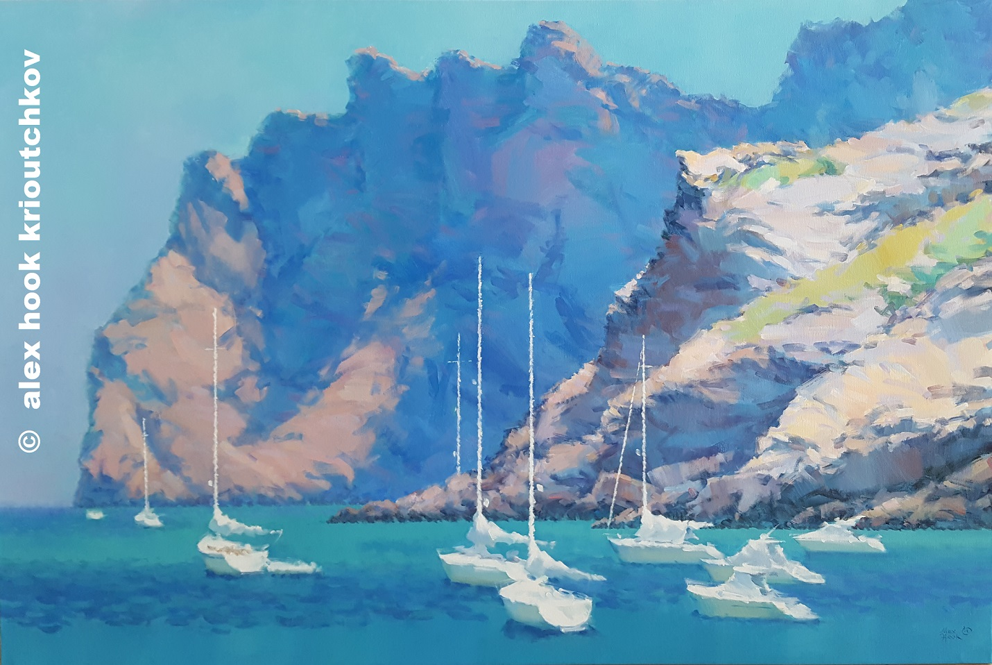 Alex Hook Krioutchkov Artwork Cala San Vicente Mallorca, 2017 Oil Painting, Seascape