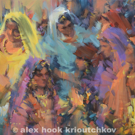 Alex Hook Krioutchkov: 'Colours of Festival', 2013 Oil Painting, Abstract Figurative. Artist Description:  oriental, abstract figurative, indian, India, World Cultures, ethnic, expressionism, figurativo, ...