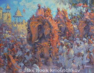 Artist: Alex Hook Krioutchkov - Title: Hindu Festival - Medium: Oil Painting - Year: 2013