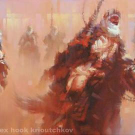 Alex Hook Krioutchkov: 'Mamelukes attack', 2010 Oil Painting, World Culture. Artist Description: oriental, abstract figurative, World Cultures, ethnic, expressionism, figurativo, expresionismo, Egypt,                                 ...