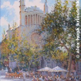 Alex Hook Krioutchkov Artwork Soller cafe, 2017 Oil Painting, Cityscape