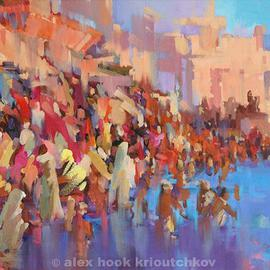 Alex Hook Krioutchkov: 'Varanasi 2', 2015 Oil Painting, World Culture. Artist Description: oriental, abstract figurative, World Cultures, ethnic, expressionism, figurativo, expresionismo, Varanasi, India, ...