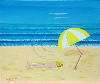 Alex Mortensen: 'BEACH BABE WITH ALL SHE NEEDS', 2008 Acrylic Painting, nudes.  This is a naive style work that I did for fun, for the Shed Nudes Exhibition in Queanbeyan in 2009. It is in a polished pacific maple frame the overall dimensions being 72x62cms approx. being on canvas art board it can be sold without the frame if required. Postage includes...