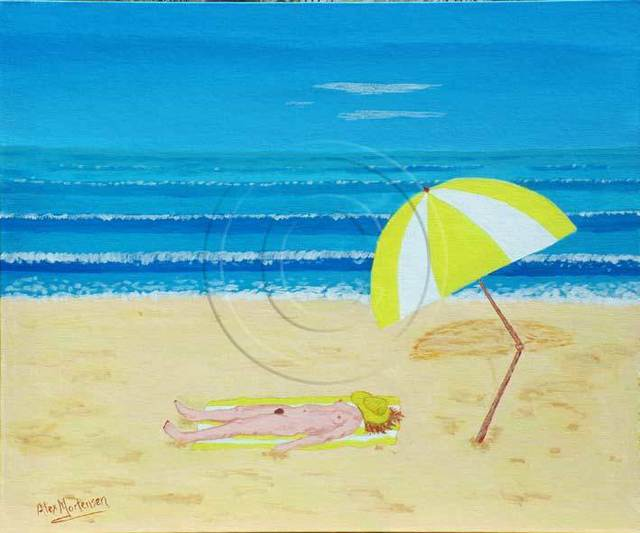 Alex Mortensen  'BEACH BABE WITH ALL SHE NEEDS', created in 2008, Original Pastel.