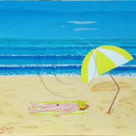 Alex Mortensen: 'BEACH BABE WITH ALL SHE NEEDS', 2008 Acrylic Painting, nudes. Artist Description:  This is a naive style work that I did for fun, for the Shed Nudes Exhibition in Queanbeyan in 2009. It is in a polished pacific maple frame the overall dimensions being 72x62cms approx. being on canvas art board it can be sold without the frame if required. ...