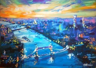 Alexander Ottmar: 'london evening', 2019 Acrylic Painting, Landscape.