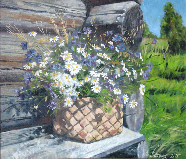 Alexander Bezrodnykh  'Chamomile Cornflowers', created in 2015, Original Painting Oil.