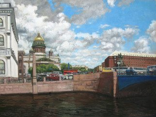 Alexander Bezrodnykh Artwork isaac s square, 2014 Oil Painting, Cityscape