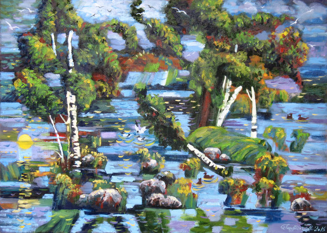 Alexander Bezrodnykh  'Lake Vuoksa Islands', created in 2016, Original Painting Oil.