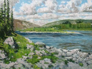 Alexander Bezrodnykh Artwork river mountain34x44, 2015 Oil Painting, Landscape