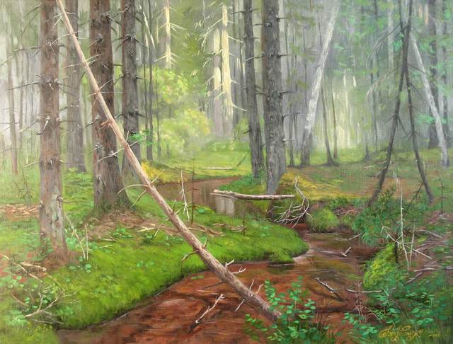 Alexander Bezrodnykh  'Stream In The Forest', created in 2006, Original Painting Oil.