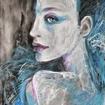 Original Oil Pastel Painting Model In Blue, Alex Solodov