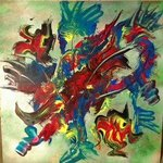 Mixed Media Abstract Post Modern Art By Alfredo Garcia Fly Fishing By Alfredo Garcia