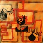 Mixed Media Abstract Post Modern Art By Alfredo Garcia The Blond Bombshell 2 By Alfredo Garcia