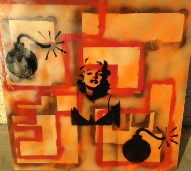Alfredo Garcia  'Mixed Media Abstract Post Modern Art By Alfredo Garcia The Blond Bombshell 2', created in 2014, Original Mixed Media.
