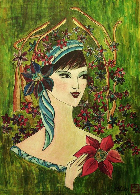 Artist Alice Yang. 'Flower Fantacy' Artwork Image, Created in 2009, Original Painting Oil. #art #artist