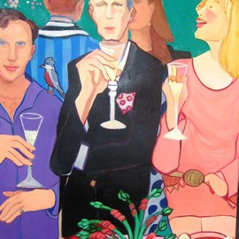 Alice Murdoch: 'Cocktails', 2009 Oil Painting, Figurative. Artist Description:     people at a cocktail party      ...