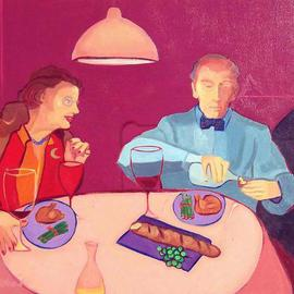 Alice Murdoch: 'Early Birds', 2000 Oil Painting, Figurative. Artist Description: Couple out for dinner...