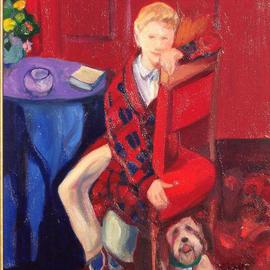 Alice Murdoch: 'Erik', 2000 Oil Painting, Figurative. Artist Description: painting of a boy and his dog...