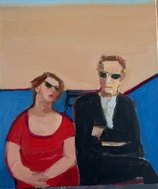 Alice Murdoch: 'SIESTA', 2015 Oil Painting, Figurative.  Couple at beach                                 ...