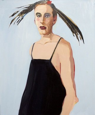Alice Murdoch: 'david', 2020 Oil Painting, Figurative.  it s a feather hat  Alice said correcting someone who thought it was hair on David s head. ...