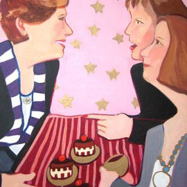 Alice Murdoch: 'neiman Marcus Mousse Cakes', 2011 Oil Painting, Figurative. Artist Description:         Friends enjoy cakes       ...