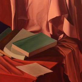 Alina Krasilnikova: 'Still life with books', 2014 Oil Painting, Still Life. Artist Description:  Still life with books, drapery. Game of light and shadow. oil on canvas ...