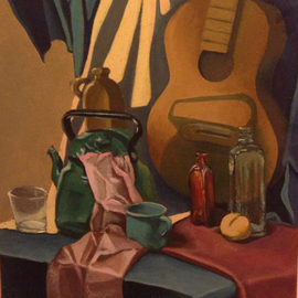 Alina Krasilnikova: 'Still life with guitar and cloth', 2011 Oil Painting, Still Life. Artist Description:  still life cloth drapery guitar musical instrument teapot peach bottles red green pink lma academy of art season winter spring summer fall autumn hand made authors abstract calm colors oil painting fine art my way pressed wood canvas no frame female painter light shadow ...