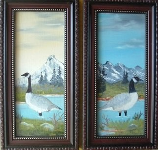Birds Oil Painting by Al Johannessen Title: Canadian Geese standing in water, created in 2010