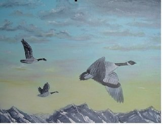 Al Johannessen: 'Ovet the tops', 2010 Oil Painting, Birds.   Canadain geese Flying over mountains     ...