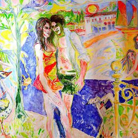 Alkistis Wechsler: 'August Moon', 2009 Oil Painting, Scenic. Artist Description:  Perhaps the Garden of Eden - The couple of young lovers, Tree of knowledge and loving animals by the sunny seaside of a mediterranean island. ...