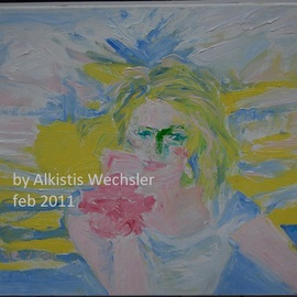 Alkistis Wechsler: 'Aurora', 2011 Oil Painting, Portrait. Artist Description:   finished this month of February by the full moon. All made with a small and a large spatula - no brush! the teenager daughter of a friend!  ...