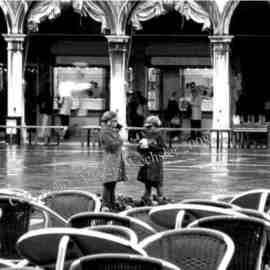 Alkistis Wechsler: 'Children in S Marco Venice', 2007 Black and White Photograph, Scenic. Artist Description:  End Oct 2007 as we stopped in Caffe Florian . . . ...