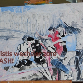 Alkistis Wechsler: 'Clash', 2010 Other Painting, Scenic. Artist Description:       oil and acrylic       ...