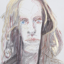 Alkistis Wechsler: 'Dandy S Y', 2011 Ink Painting, Portrait. Artist Description:  My summer inspiration to a new series of ink and pigment watercoulors portraits inspired by various ages of my Friend HUGO ...