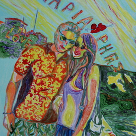 Alkistis Wechsler: 'Fidanzati', 2010 Oil Painting, Scenic. Artist Description:         a teenager couple of towners on a Greek island summer holiday!  one of those that I gave to children charities round the world!...